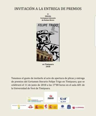 Invitacion Entrega de premios Felipe Trigo